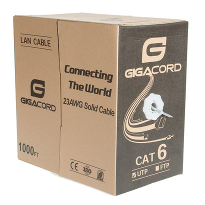 Gigacord Gigacord 1,000 Foot bulk Cat6 Ethernet Cable Wire UTP Pull Box 1000ft 1K Cat-6 Style Gray