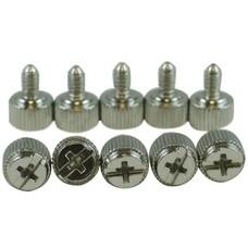 Gigacord Silver Thumbscrew 10-Pack, Coarse Thread