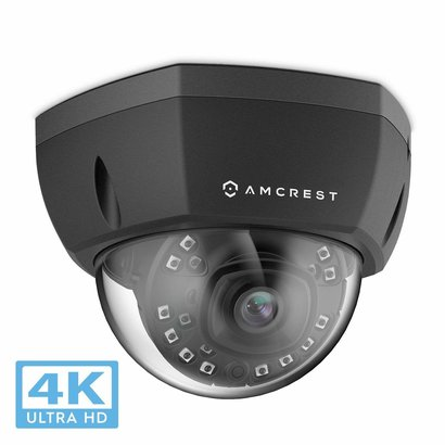 Amcrest Amcrest 4K Outdoor POE IP Camera, UltraHD 8MP Security Camera, 3840x2160P Resolution, IK10 Vandal Resistant Dome, 2.8mm Lens, IP67 Weatherproof Security, Cloud & MicroSD Recording (IP8M-2493EB)