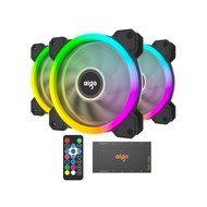Aigo Aigo DR12 2019 Version 3IN1 120mm RGB LED Adjustable Color Quiet High Airflow Long Using Life Computer Case PC Cooling Fan, CPU Cooler and Radiator