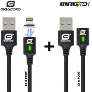 Gigacord Gigacord MAGtek Magnetic Charging/Sync Cable Kit, iPhone Lightning , 1x 1M, 1x 2M Cable, 3A, Fast Charge, Braided Nylon, w/ LED Indicator