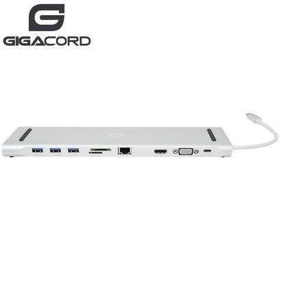 Gigacord Gigacord USB Type-C Docking Station with Dual Video Output for Notebook/Laptop, Silver