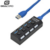 Gigacord Gigacord USB 3.0 4-Port Powered Hub with Independent switch, Black