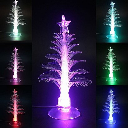 USB 7-Color Changing Fiber Optical LED Light Christmas Xmas Tree Lamp Decoration with Suction