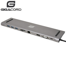 Gigacord Gigacord USB Type-C Docking Station with Dual Video Output for Notebook/Laptop, Dark Gray