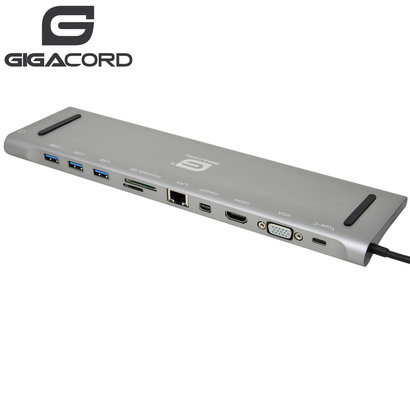Gigacord Gigacord USB Type-C Docking Station with Triple Video Output for Notebook/Laptop, Dark Gray