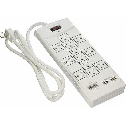 Monster Monster Power 12 Outlet 2160J White Surge Strip 6 outlet, 2 USB Charging Ports, Recertified, Bulk Pkg.