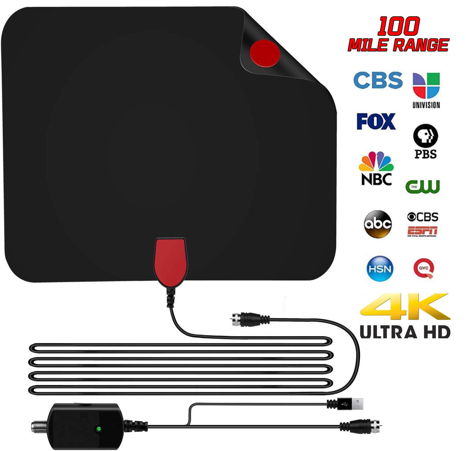 Indoor TV Antenna Digital HDTV Aerial Amplified 100 Mile Range VHF UHF Freeview