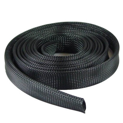 Expandable Braided Nylon Cable Sock Black 50 Foot (15.24m), Choose Diameter