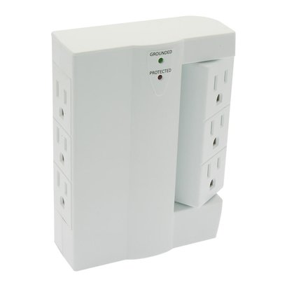 6 Outlet Swivel 3Prong Wall Tap Adapter 300J Surge Protector