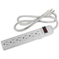 1.5Ft 6-Outlet Surge Strip Protector 15 Amp, 90 Joules, White