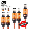 Gigacord Gigacord BlackARMOR2 iPhone Lightning / Micro USB 2-in-1 Charge/Sync Cable w/ Strain Relief, Nylon Braiding, Anodized Aluminum Connectors, Orange 5-Pack (2x 3ft., 2x 6ft., 1x 10ft.)