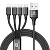 Gigacord Gigacord 4Ft 4in1 Charging Cable iPhone, Type-C, USB Micro Braided Black