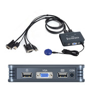 Oyel Oyel 2-Port VGA USB KVM Switch, Plastic with Built in Cables & Remote switch, PC Mac