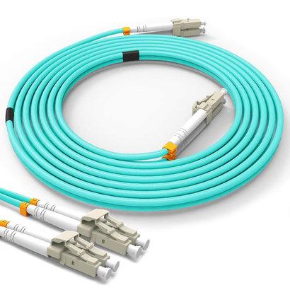 1m LC-LC 10Gb 50/125 OM3 M/M Duplex Fiber Cable Aqua Jacket