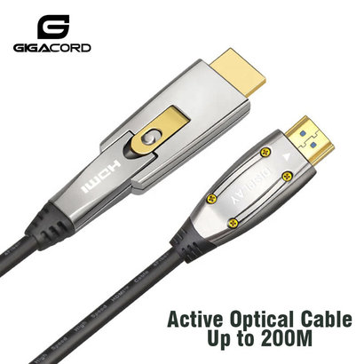 Gigacord Gigacord Fiber Optic HDMI 2.1 Cable (A-D) 4K 60Hz AOC Fiber Cable Support HDCP 2.2, 4:4:4, 48Gbps, HDR 12bit, Interchangeable Metal Connectors (Choose Length)