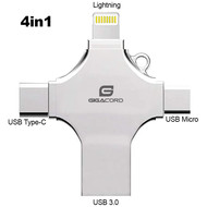 Gigacord Gigacord 4in1 USB 3.0 Flash Drive for iPhone, Type C, and Micro USB, Silver, (Choose Size)