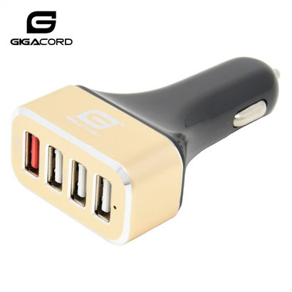 Gigacord Gigacord Auto Charger 4-USB 6.5A 36W QC 3.0 Four Port Micro USB Car Charger , Black/Gold (Qualcom Quick Rapid Charge Technology)
