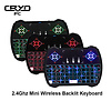 Cryo-PC Cryo-PC Backlit (RGB) Mini Wireless Keyboard With Touchpad Mouse Combo and Multimedia Keys for Android TV Box HTPC Smart Phone Tablet Mac Linux Windows OS, Black