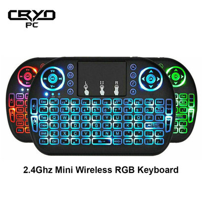 Cryo-PC Cryo-PC Backlit (RGB) Mini Wireless Keyboard With Touchpad Mouse Combo and Multimedia Keys for Android TV Box HTPC Smart Phone Tablet Mac Linux Windows OS