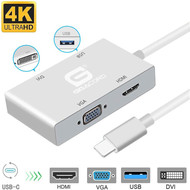 Gigacord Gigacord USB Type-C to VGA / HDMI / DVI / USB 3.0 4K Adapter, Multi Monitors Hub Adapter Cable (Thunderbolt 3 Compatible) Compatible with MacBook/MacBook Pro/Chromebook Pixel