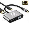 Gigacord Gigacord USB-C Type-C to VGA / HDMI Dual Video Adapter, No Driver