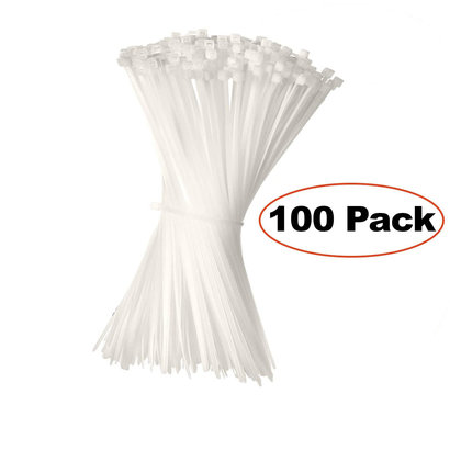 """8"""" Releasable Nylon Cable ties 50lbs, 100pk. Clear"""