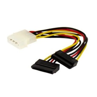 """6"""" 4 Pin Molex to Dual SATA Power Y-Cable Adapter- 6 Inches"""