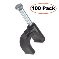100-Pack Nail-in Clip RG6 Wable Wire, Black