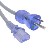 3Ft Hospital Grade Power Cord 5-15P to C13 SJT 18/3 Clear Blue