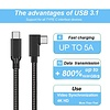 Gigacord Gigacord 10Ft USB 3.2 USB-C to USB-C Cable Oculus Quest2 Link Right Angle Cable, 5Gbps 3A, Black