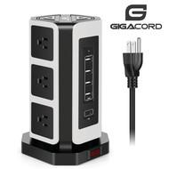 Gigacord Gigacord 9-Outlet, 4 USB + USB-C 900j Surge Power Strip, 6.5ft Cord, White and Black