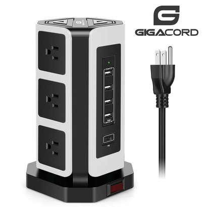 Gigacord Gigacord 9-Outlet, 4 USB + USB-C 900j Surge Power Strip, 6.5ft Cord, White and Black