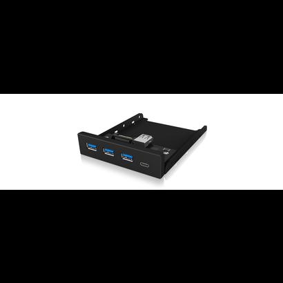 "Cryo-PC Cryo-PC 3.5"" Front Panel 3x USB 3.0 Hub with Type-C, Black"