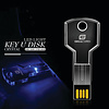Gigacord Gigacord 8GB USB 2.0 Key Shape, Clear Blue LED Flash Drive
