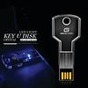 Gigacord Gigacord 16GB USB 2.0 Key Shape, Clear Blue LED Flash Drive
