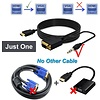 Gigacord Gigacord Active HDMI Male to VGA Male Converter Adapter Cable with 3.5mm Audio, Black (Choose Length)