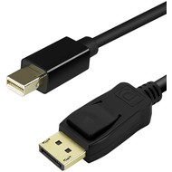 Mini Displayport Male to Displayport Male Cable Male/Male, Black Thunderbolt Port Compatible, 4K Ready (Choose Length)