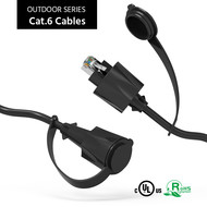 Cat.6 SSTP Industrial Outdoor Patch Cable w/Dust Cap Black (Choose Length)