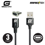 Gigacord Gigacord MAGtek 3ft. USB-C Type-C Magnetic Charging/Sync Cable, 3A, Fast Charge, Braided Nylon, w/ LED Indicator