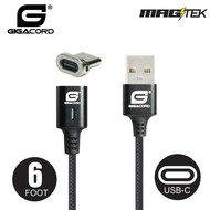 Gigacord Gigacord MAGtek 6ft. USB-C Type-C Magnetic Charging/Sync Cable, 3A, Fast Charge, Braided Nylon, w/ LED Indicator