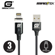 Gigacord Gigacord MAGtek 3ft. iPhone iPad Magnetic Charging/Sync Cable, 3A, Fast Charge, Braided Nylon, w/ LED Indicator