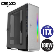 Cryo-PC Cryo-PC Mini ITX Aluminum Case with 180W PSU RGB LED, Silver
