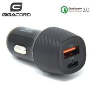 Gigacord Gigacord USB & Type-C Car Auto Charger 3.4A 18W QC3.0, Carbon
