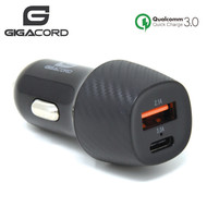 Gigacord Gigacord USB & Type-C USB-C Car Auto Charger 3.4A 18W QC3.0, Carbon