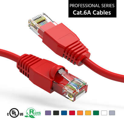 25 Foot Cat6A UTP Ethernet Network Booted Cable 24AWG Pure Copper, Red Cat-6A (25Ft.)