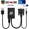 """Gigacord Gigacord 10"""" VGA Male to HDMI Female Converter Adapter with 3.5mm Audio and USB Power Adapter, Black"""