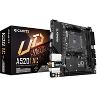Gigabyte GIGABYTE A520I AC mITX AM4 Direct 6 Phases Digital PWM with 55A DrMOS, GIGABYTE Gaming GbE LAN, Intel WiFi+Bluetooth, NVMe PCIe 3.0 x4 M.2, 3 Display Interfaces, Q-Flash Plus, RGB Fusion 2.0, Motherboard