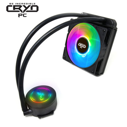 Cryo-PC Cryo-PC LC120 120mm Water Liquid Cooling Cooler Radiator with 120mm LED Rainbow Lighting Case Fan CPU Cooler (Rainbow)