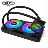 Cryo-PC Cryo-PC LC240 240mm Water Liquid Cooling Cooler Radiator with x2 120mm LED Rainbow Lighting Case Fan CPU Cooler (Rainbow)